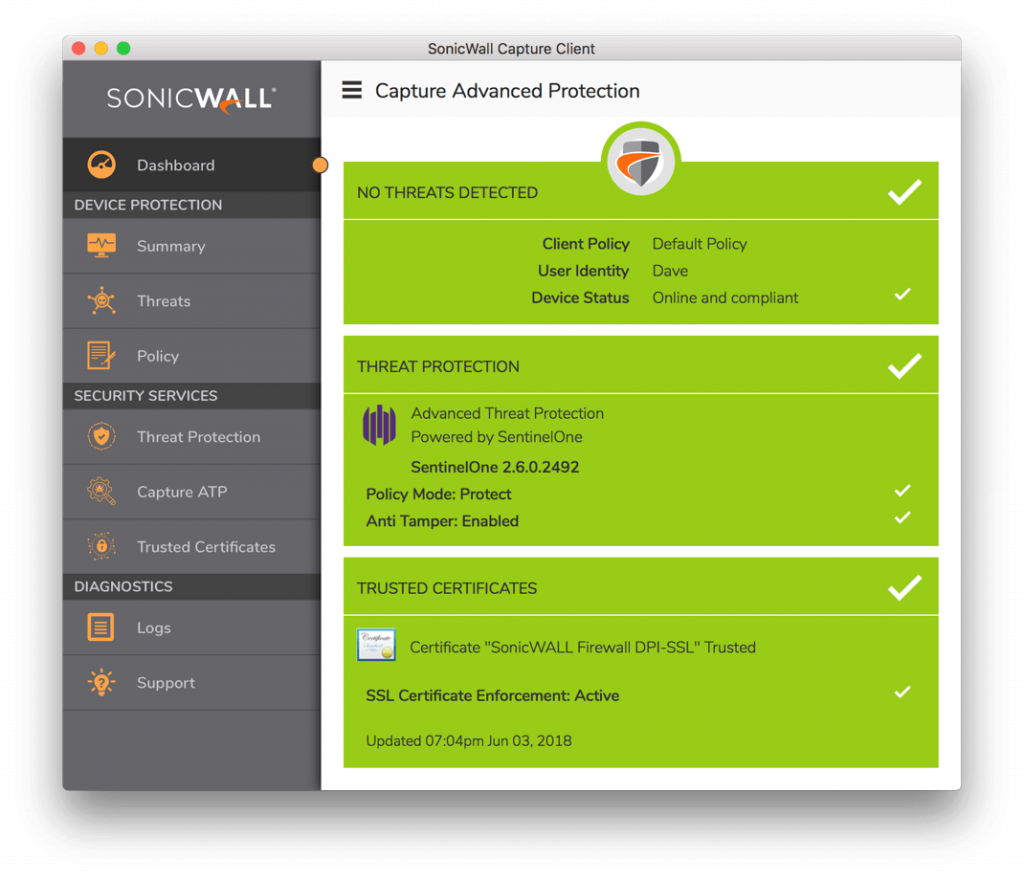 SonicWall Capture Client Endpoint Protection
